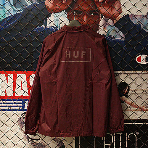 [허프] BAR LOGO COACHS JACKET (BURGUNDY) - HFA17JK010BD [허프 HUF 코치자켓]