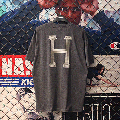 CLASSIC H CHROME TEE (CHARCOAL HEATHER) - HFA17TS047CH [허프 HUF 반팔티]