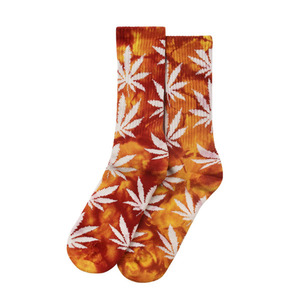 [허프] TIE DYE PLANTLIFE CREW SOCK (BURGUNDY/YELLOW) - HFSPSK017 [허프 HUF 양말]
